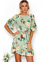 cheap -Women's Beach Going out Boho Flare Sleeve Dress - Floral Ruffle Print