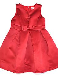 abordables -Robe Fille de Soirée Quotidien Couleur Pleine Coton Acrylique Polyester Printemps Eté Sans Manches simple Rétro Rouge