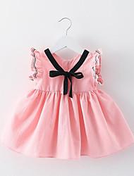 abordables -Robe Fille de Quotidien Sortie Fleur Coton Polyester Eté Sans Manches simple Actif Blanc Rose Claire Gris