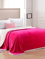 Недорогие -Коралловый флис, Активный краситель Однотонный Хлопок/полиэфир одеяла