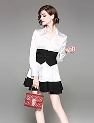 abordables -Mujer Chic de Calle Conjunto - Color sólido Falda
