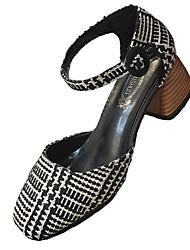 abordables -Femme Chaussures Gomme Printemps Confort Chaussures à Talons Talon Plat Bout rond pour De plein air Soirée & Evénement Noir