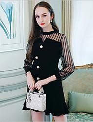 levne -Dámské Volné Šaty - Jednobarevné, Šněrování Vysoký pas