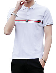 cheap -Men's Sports Business Street chic Cotton Slim Polo - Solid Colored Striped Letter, Print Shirt Collar