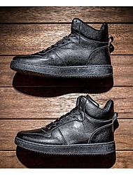 Homens sapatos Couro Ecológico Primavera Outono Conforto Tênis para Casual Branco Preto