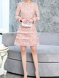 cheap -Women's Basic Flare Sleeve A Line Dress - Floral, Lace Print Patchwork