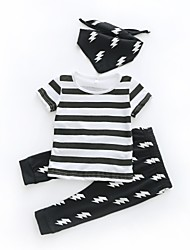 cheap -Baby Girls' Boys' Daily Striped Clothing Set, Cotton Spring Summer Casual Short Sleeves Black