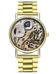 baratos -Mulheres Chinês Cronógrafo / Mostrador Grande / Fase da lua Aço Inoxidável Banda Fashion Dourada