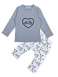 billige -Baby Unisex Aktiv Ferie Trykt mønster Trykt mønster Langærmet Bomuld Tøjsæt