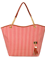 cheap -Women's Bags Canvas Tote Tassel Blue / Black / Red