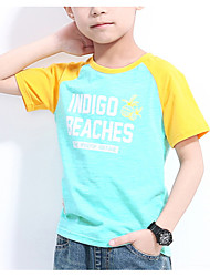 preiswerte -Jungen T-Shirt Alltag Druck Baumwolle Sommer Kurzarm Einfach Aktiv Leicht Blau