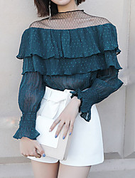 baratos -Mulheres Blusa - Feriado Moda de Rua Renda, Sólido