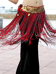 economico -Danza del ventre Semplici Cintura per danza del ventre Per donna Addestramento Prestazioni Poliestere Cintura Paillettes Nappa Moderno