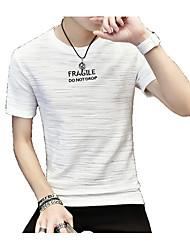 economico -T-shirt Per uomo Moda città Tinta unita Con stampe, Alfabetico Rotonda