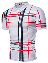 cheap -Men's Business Basic Plus Size Polo - Plaid, Print Shirt Collar