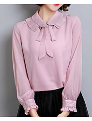 cheap -Women's Basic Blouse - Solid Colored Bow Shirt Collar / Spring / Summer / Lace up