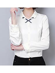 Недорогие -Жен. Вышивка Рубашка Классический Однотонный