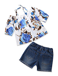 cheap -Girls' Daily Going out Floral Print Clothing Set, Cotton Polyester Summer Short Sleeves Casual Blue