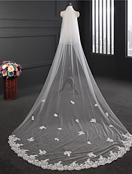 cheap -Two-tier Double Layered Wedding Veil Chapel Veils 53 Embroidery Tulle