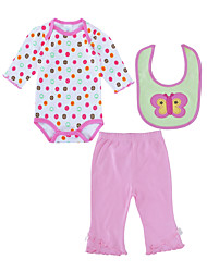cheap -Baby Girls' Daily Polka Dot Clothing Set, Cotton Spring Fall Active Long Sleeves Blushing Pink