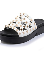 cheap -Women's Shoes Leatherette Spring Summer Slingback Slippers & Flip-Flops Creepers Open Toe Rivet for Casual Outdoor White Black Green Pink