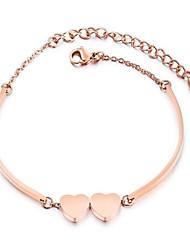 abordables -Breloque Charms Bracelet Femme Inoxydable Cœur dames Dessin Animé Bracelet Bijoux Or Rose pour Cérémonie Nouvelle An