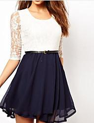 cheap -Women's Slim Sheath Dress - Color Block, Mesh High Waist