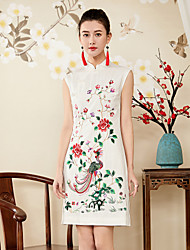 cheap -8CFAMILY Women's Vintage Sophisticated Slim Sheath Dress - Floral, Embroidered Stand