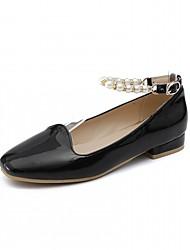 abordables -Femme Chaussures Similicuir Printemps / Automne Confort / Nouveauté Ballerines Talon Plat Bout rond Imitation Perle Blanc / Noir