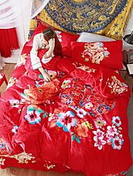 abordables -Ensembles housse de couette Fleur 4 Pièces Polyester/Coton Jacquard Polyester/Coton 1 x Housse de couette 2 x Taies d'oreiller brodées 1
