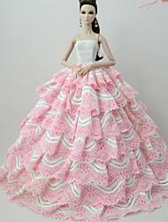 abordables -Robes Robe Pour Poupée Barbie Rose Pale Dentelle Mélange soie/coton Robe Pour Fille de Jouets DIY