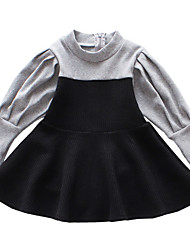 cheap -Girl's Daily Holiday Solid Patchwork Dress, Cotton Polyester Spring Summer Long Sleeves Simple Active Black