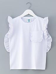 preiswerte -Mädchen Hemd Alltag Solide Polyester Sommer Ärmellos Einfach Weiß