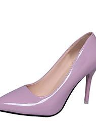 preiswerte -Damen Schuhe Lackleder Frühling Herbst Pumps High Heels Stöckelabsatz Spitze Zehe für Normal Büro & Karriere Weiß Schwarz Violett