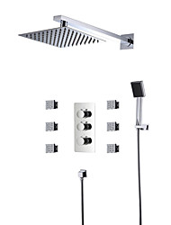 cheap -Contemporary Shower System Rain Shower Handshower Included Widespread Thermostatic LED Ceramic Valve Three Handles Five Holes Chrome,