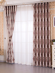 cheap -Curtains Drapes Bedroom Floral Multi Color Polyester Blend Jacquard