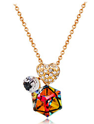 cheap -Women's Heart Crystal Cubic Zirconia Rose Gold Crystal Zircon Pendant Necklace  -  Formal Classic Rainbow Necklace For Evening Party