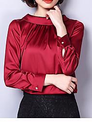 Недорогие -Жен. Повседневные Блуза, Хомут Простой Длинный рукав Акрил
