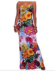 cheap -Women's Holiday Boho Cotton Slim Sheath Dress - Floral Print High Waist Maxi Strapless / Spring / Summer