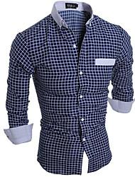 cheap -Men's Simple Shirt - Check / Long Sleeve