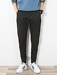 Недорогие -мужской нормальный средний рост микро-эластичный брюки гарем, простой твердый хлопок льняной бамбук волокна акриловая весна
