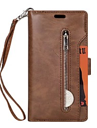 economico -Custodia Per Apple iPhone X iPhone 8 Plus Porta-carte di credito A portafoglio Con supporto Integrale Tinta unica Resistente pelle