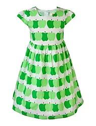 abordables -Robe Fille de Quotidien Vacances Fleur Imprimé Coton Acrylique Polyester Printemps Eté Sans Manches simple Mignon Vert Rouge