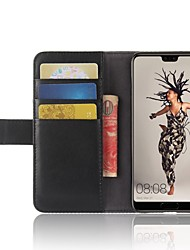 cheap -Case For Huawei P20 lite P20 Pro Card Holder Wallet with Stand Flip Magnetic Full Body Cases Solid Colored Hard Genuine Leather for