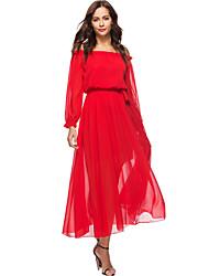 cheap -Women's Beach Boho Lantern Sleeve Loose Chiffon Swing Dress - Solid, Ruffle High Waist Maxi Strapless