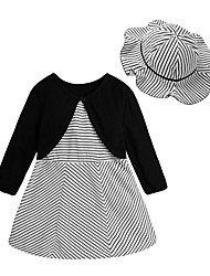 cheap -Baby Girl's Daily Striped Dress, Polyester Spring Basic Long Sleeves Black