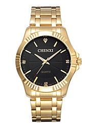 cheap -CHENXI® Men's Fashion Watch / Dress Watch / Simulated Diamond Watch Japanese Casual Watch / Imitation Diamond Stainless Steel Band Luxury / Fashion Gold / Two Years / Maxell626