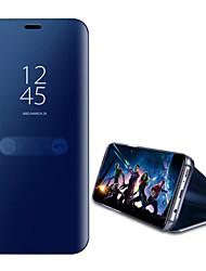 Недорогие -Кейс для Назначение Huawei P10 Lite P10 со стендом Зеркальная поверхность Чехол Сплошной цвет Твердый Кожа PU для P10 Plus P10 Lite P10