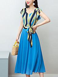cheap -Women's Sophisticated Street chic A Line Sheath Chiffon Dress - Geometric, Bow Print
