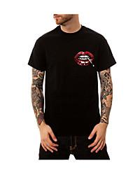 Herre - Geometrisk, Basale Trykt mønster T-shirt